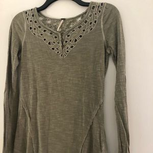 Free People Cut-out Grey/Green Long Sleeve
